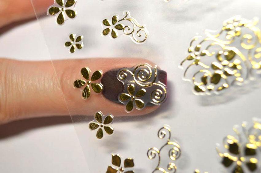 как клеить объемные наклейки на ногти