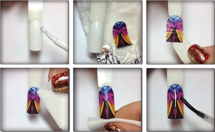 как клеить наклейки на ногти на не высушенный лак