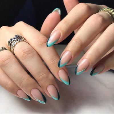 Необычный дизайн на миндалевидные ногти