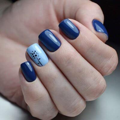 Синий маникюр на короткие ногти