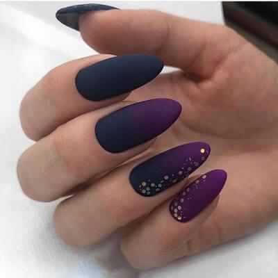 Матовый маникюр с втиркой на длинные ногти