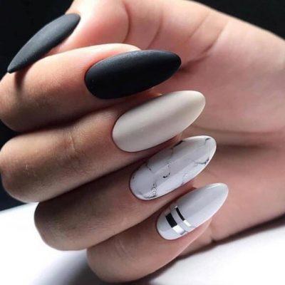Комби маникюр на длинные ногти