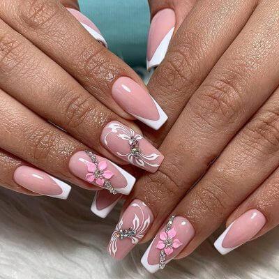 Френч на длинные ногти с цветами