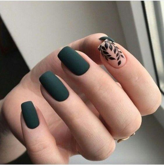 Зеленый с листьями