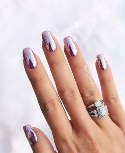Квадратные ногти зеркальные