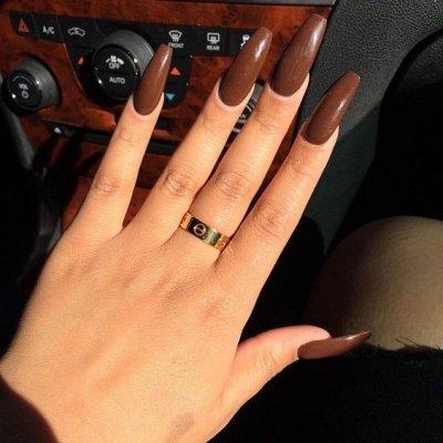 Маникюр шоколадного цвета длинные ногти
