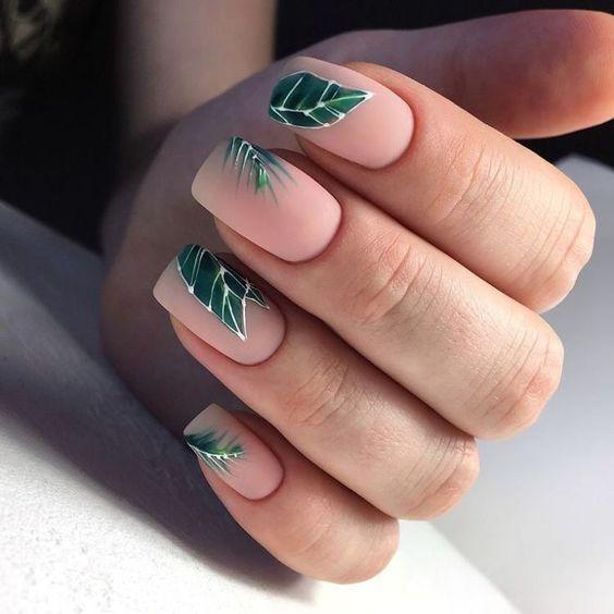 Классный дизайн ногтей с листьями