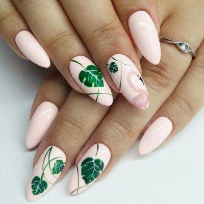 Классный дизайн ногтей с листочками