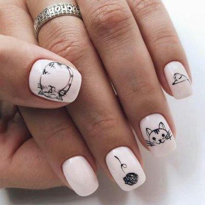 Классный дизайн ногтей с кошкой