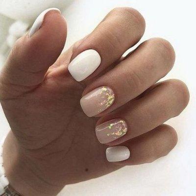 Квадратные ногти нежный милый дизайн