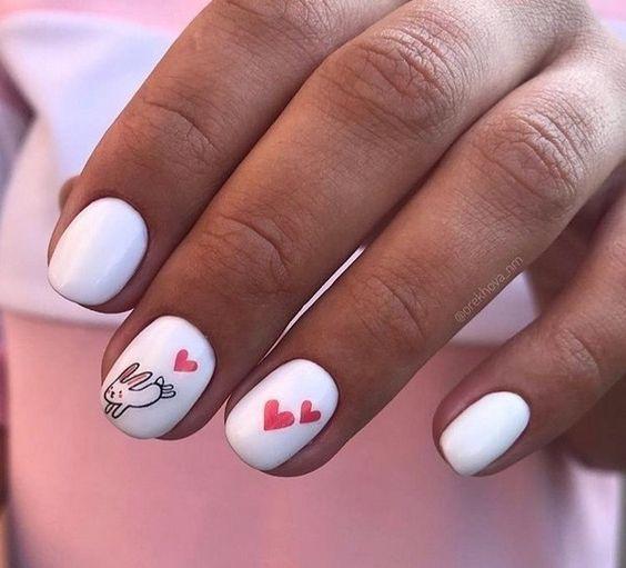 Классный дизайн ногтей с зайчиком