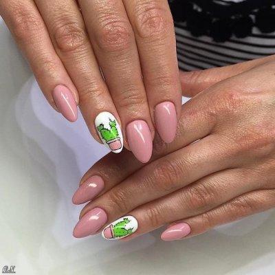 Маникюр с кактусом розовый