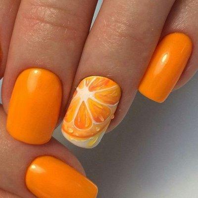 Маникюр с рисунком апельсин