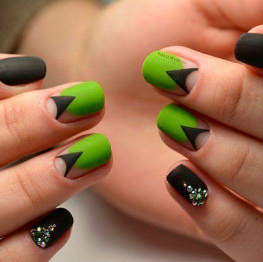 Салатовый цвет маникюра с черным - Modnail.ru - Красивый..
