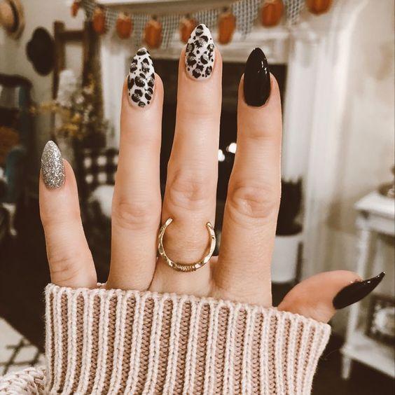 Леопардовый дизайн маникюра на длинные ногти