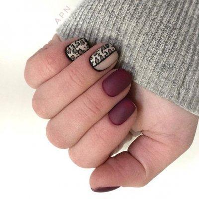 Леопардовый дизайн красные ногти