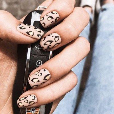 Леопардовый дизайн маникюра