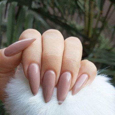 Маникюр коричневый на длинные ногти
