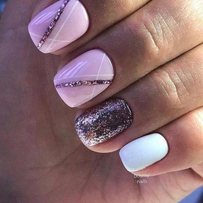 Маникюр розовый на короткие ногти