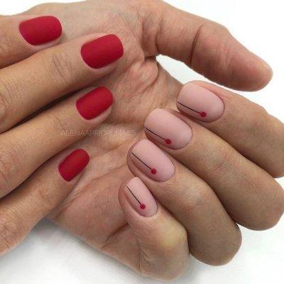 Маникюр красный и розовый