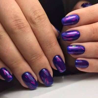 Маникюр фиолетовый битое стекло