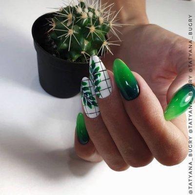 Зеленый маникюр омбре с листочками