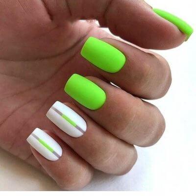 Зеленый белый яркий маникюр