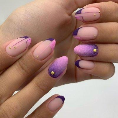 Маникюр фиолетовый