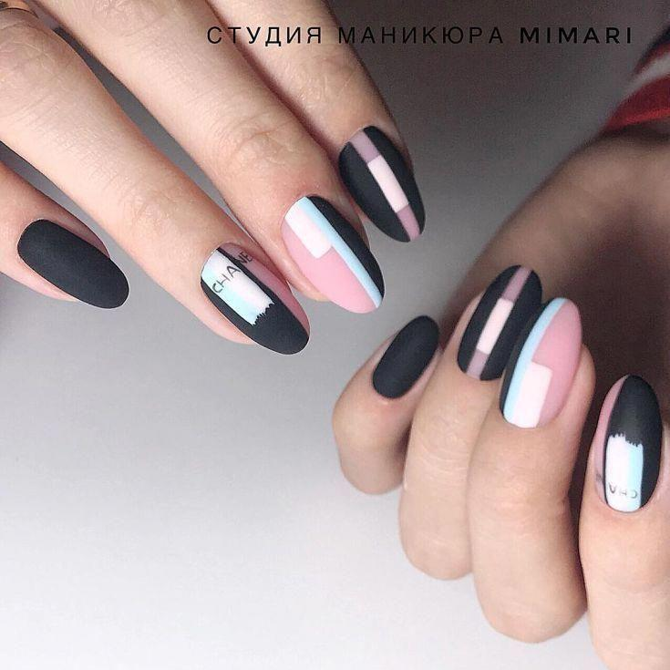 Черный розовый маникюр