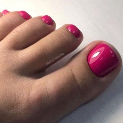 Красно розовый педикюр