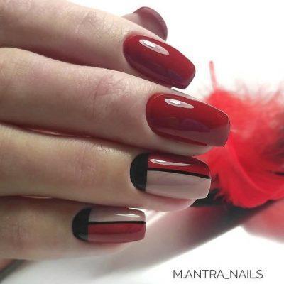 Красный маникюр с черным