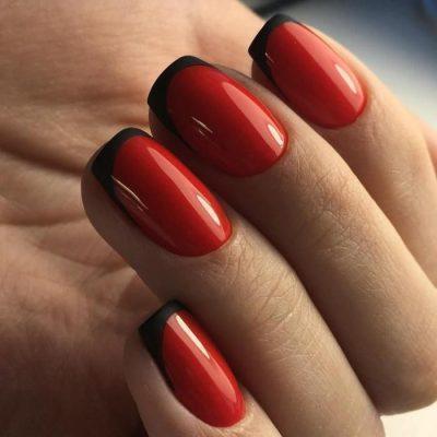 Красный с черным френч маникюр