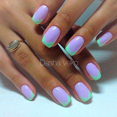 Французский фиолетовый маникюр