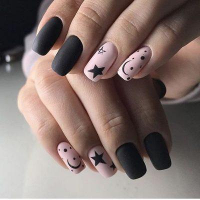 Черный с розовым маникюр на зиму