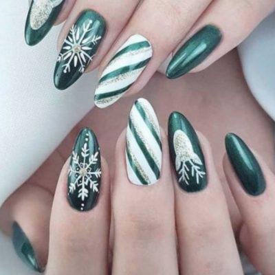 Зеленый маникюр с белым