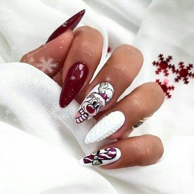 Белый с красным маникюр к новому году
