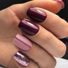 Бордовый маникюр с розовым и серебром