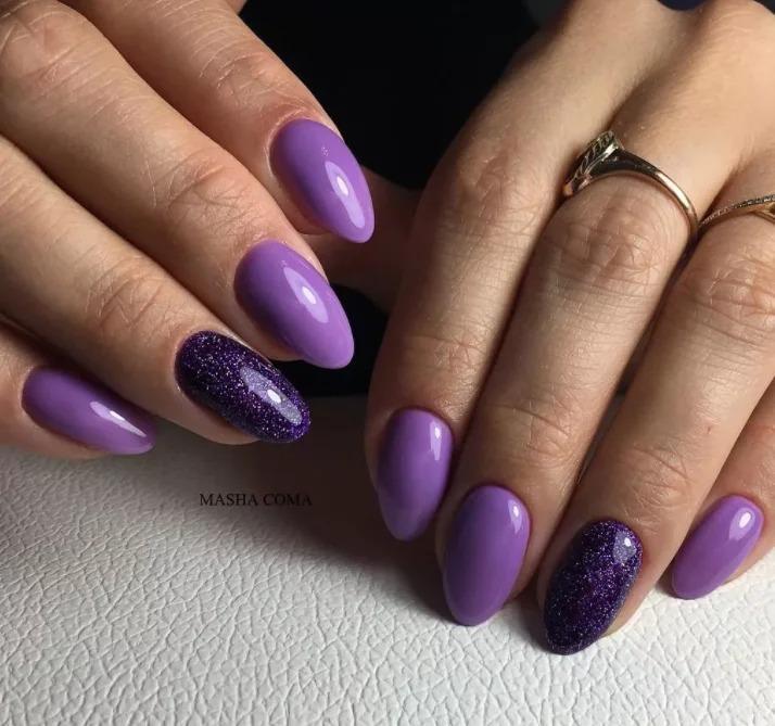 Фиолетовый модный маникюр 2020, стильные идеи, очень красивые варианты, фото.