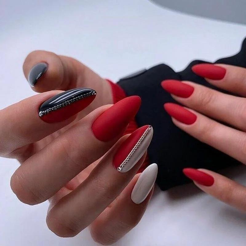 Элегантный маникюр для поклонниц красных оттенков. 20 стильных фото-решений