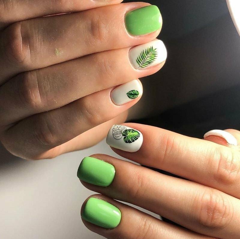 Топ 20 летних дизайнов маникюра зелёного цвета